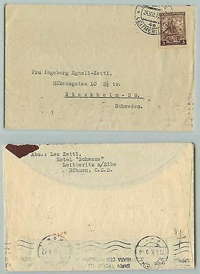 Czechoslovakia, 1937, cover, Stockholm, used. d7232