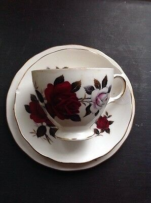 Colclough Red Rose Tea Cup Saucer And Cake Plate Set Gold Rim