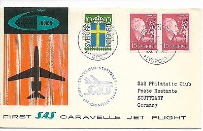 Sweden Germany 1959 SAS first Caravelle flight cover