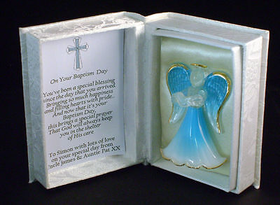 Baptism Gift for Baby Boy personalised Blue Guardian angel Present by Cellini #5