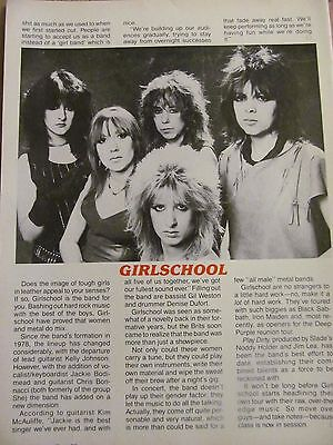 Girlschool, Full Page Vintage Clipping, Girl School