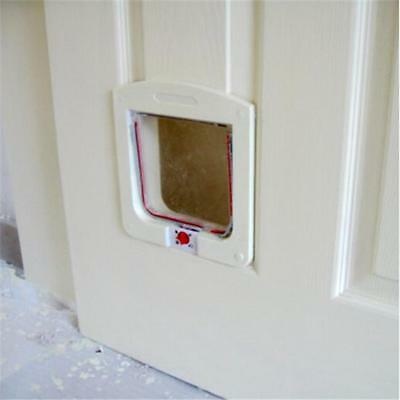 Cat Door Flap Lockable safe For Pet and Size Small Dog Suitable 7kg White Gray Z