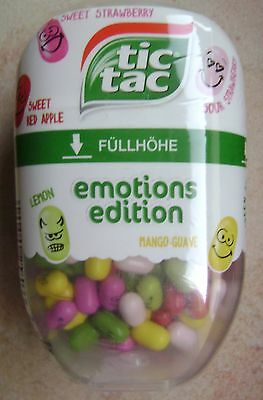 NEW TIC TAC EMOTIONS EDITION PRINTED SWEETS 98g MANGO GUAVE LEMON STRAWBERRY