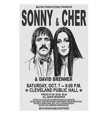 Sonny And Cher 1972 Cleveland Concert Poster