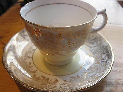 Vintage Colclough China England   Tea Cup And Saucer  Chintz Gold  Des. Yellow