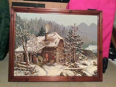 LOVELY SNOWSCENE PICTURE - a hand sewn framed tapestry ( REDUCED PRICE)