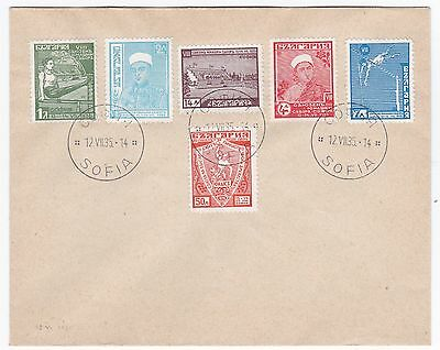 Bulgaria Gymnastics Set Complete on 1935 Cover 3rd Day of Issue Sc 273-278