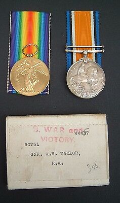 WW1 Medals and Silver Wound Badge + Docs.  90751 Arthur H Taylor Royal Artillery