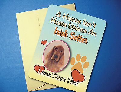 """A House Isn't Home"" - Irish Setter - Greeting Card/Blank Note Card - sku# AH-51"