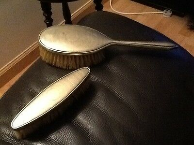 vintage vanity clothes brush set of 2 Silver plated ? Brushes . Great quality