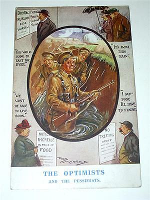 THE OPTIMISTS - WW1, WWI MILITARY HUMOUROUS POSTCARD by REG MAURICE!