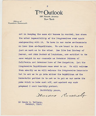 Theodore Roosevelt Typed Letter Signed - Amazing Progressive Party Content