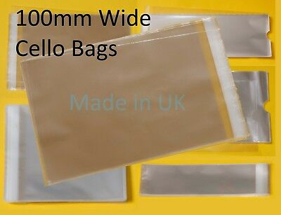 Clear Cello Bags - 100mm Wide - Cellophane Display Bag Small Gifts & Jewellery