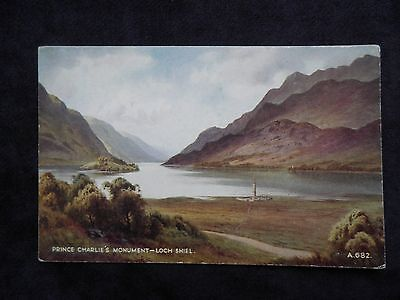 Vintage Scottish Postcard Of Prince Charlie's Monument, Loch Shiel, Highland