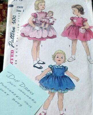 *LOVELY VTG 1950s GIRLS DRESS & PINAFORE Sewing Pattern 1