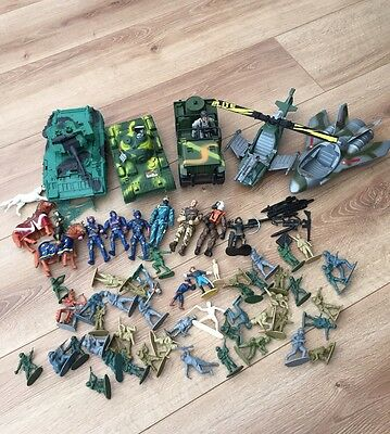 Army Toy Bundle Soldier Figures, Tank & Car Vehicle, Helicopter & Plane