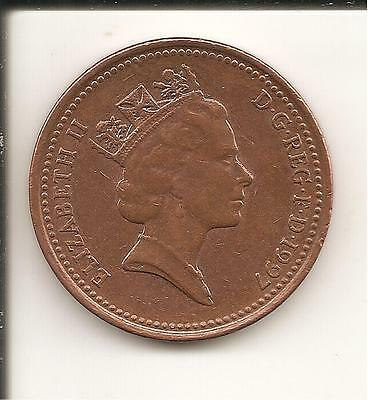 1p Coin one penny QEII Decimal UK 1997 used