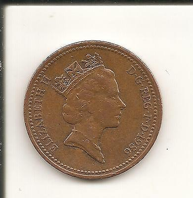 1p Coin one penny QEII Decimal UK 1986 used