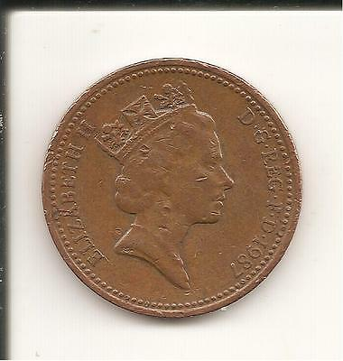 1p Coin one penny QEII Decimal UK 1987 used