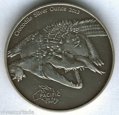 Tokelau 5 Dollars 2013 Crocodile 1 Once Argent Pur Exemplaires 2.000@ Excellent@