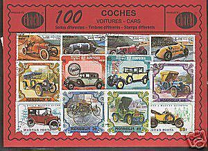 100 stamps different world in used @@ Theme : CARS @@