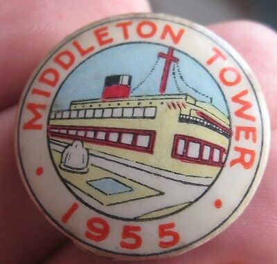 MIDDLETON TOWER HOLIDAY CAMP vintage 1955 members  tin pin BADGE