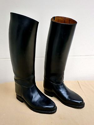Vintage French Quality Malfroid Paris Black All Leather Cavalry Riding Boots  8