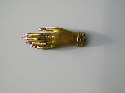 Genuine 1940s Elegant Gold Hand Shaped Brooch Pin with Silver Finger Nails