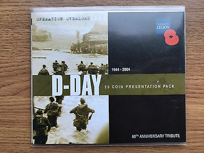 2004 £5 Guernsey Crown Coin - 60th Anniversary Of D-Day In Folder - Five Pound