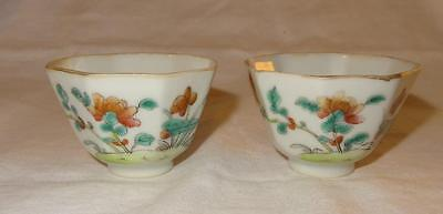Pair 18th Century CHINESE Porcelain Small Octagonal Tea Bowls