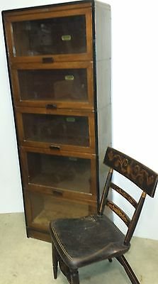 "rare Deco narrow 25"" wide Lundstrom antique 5 stacking barrister bookcase  Vtg."