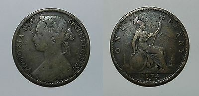 GREAT BRITAIN : QUEEN VICTORIA PENNY 1874 H - Narrow Date