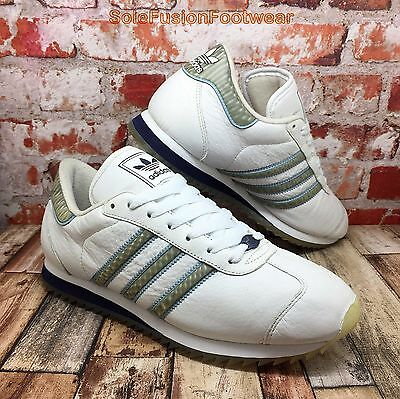 adidas Mens Country Trainers White/Blue size UK 8 Rare VTG Sneakers US 8.5 EU 42