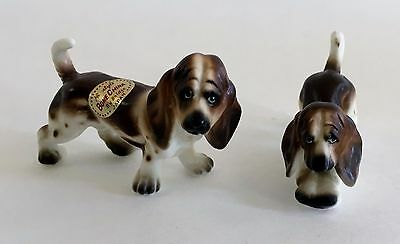 Dollhouse Miniature Pair Vintage Bone China Japan Dogs Figurines Basset Hounds