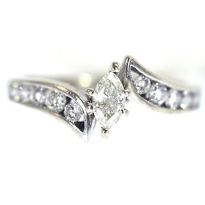1 Ct Marquise Cut Diamond Engagement Ring 14K White Gold Fine Natural Prong Set