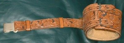 Old Scottish Marching Pipes Drum Band Tenor Drum Baldric Tooled Leather Harness