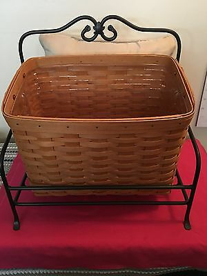 Longaberger 1999 Newspaper Basket with Wrought Iron Stand and Protector