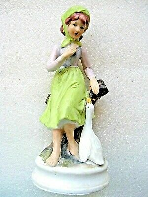 FIGURINE GIRL with GOOSE 7inch (17.7cm) perfect