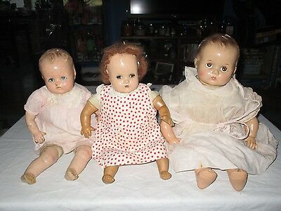 Vintage Composition Rubber And Cloth Baby Dolls Lot Of 3 Tlc