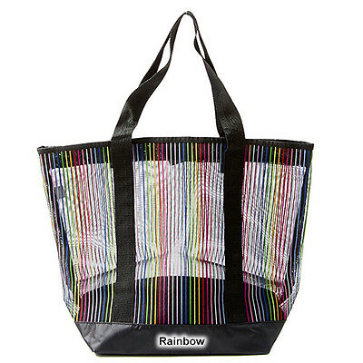 See Through Mesh Rainbow Pride Tote Hand Bag Shopping Tote Beach Pool Water Park