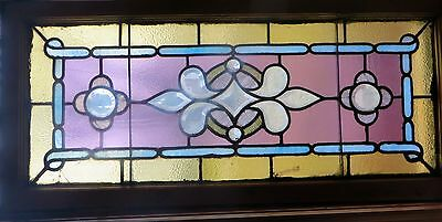 LARGE BEVELED & STAINED GLASS WINDOW WITH JEWELS c1890s