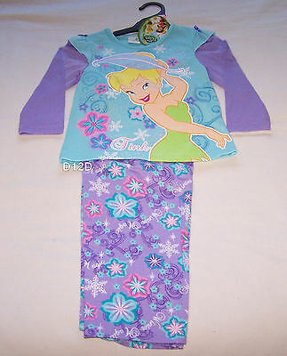 Disney Tinkerbell Girls Blue Purple Cotton Flannel Pyjama Set Size 5 New