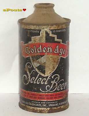 1930's GOLDEN AGE BLACK SELECT IRTP LP CONE TOP BEER CAN SPOKANE,WASHINGTON WA