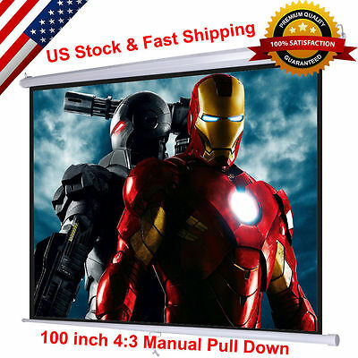 "100"" 4:3 Manual Pull Down Projector Screen Home Theater Movie 80""x60"" New"