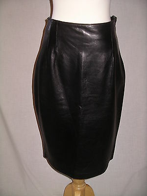 LEATHERS By TOBY Vintage Fine Leather Black Pencil Skirt HIPSTER - 10 - EUC
