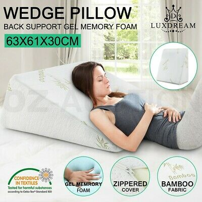 Cool Gel Memory Foam Wedge Pillow Bamboo Fiber Cushion Neck Back Support Cover