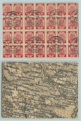 Latvia, 1918, SC 1, used, black and white map, block of 28. f2850