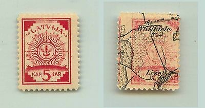 Latvia, 1918, SC 2, MNH, map, print on the both sides. f2855