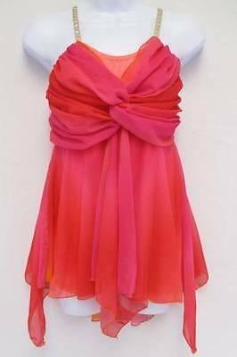 Youth Child Pink Orange Dance Costume Gallery Size Extra Large