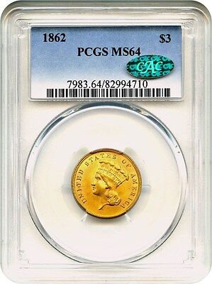 1862 $3 PCGS/CAC MS64 - Frosty Civil War Issue - 3 Princess Gold Coin